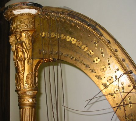 closeup of harp